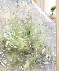 rabbitgoo 3D Fensterfolie Sichtschutzfolie Selbstklebend Milchglasfolie Dekofolie