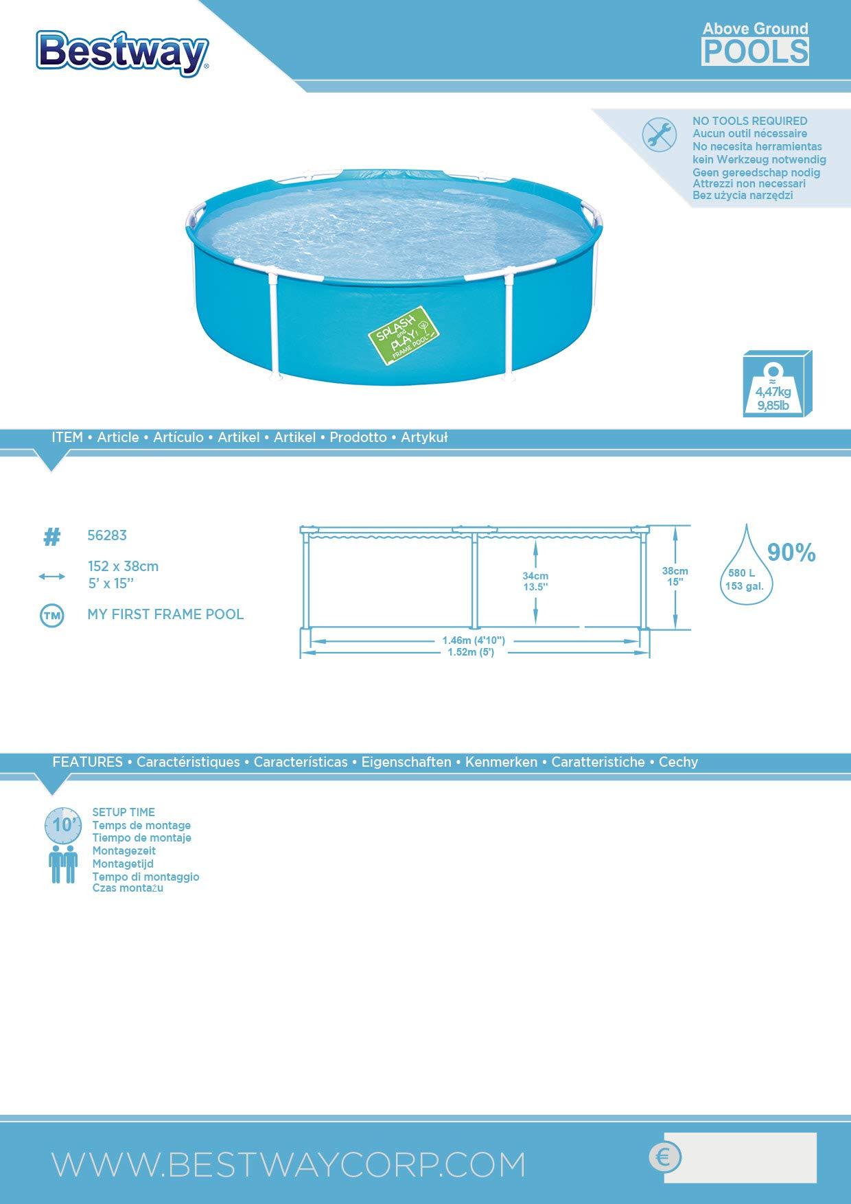 Bestway 56283 – Piscina Desmontable Tubular Infantil Mi Primera Piscina 152×38 cm