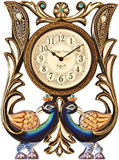 Vintage Clock Handicraft Peacock Pine Wood Clock (48 cm x 10 cm x 33 cm) …