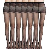 MANZI 6 Pairs Black Footed Sheer Tights Pantyhose 20 Denier for Women