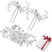 Accessori per capelli da sposa con perle per donna ragazza Damigella d'onore, pettini matrimonio con strass cristallo…