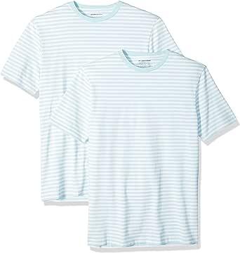 Amazon Essentials Men's Slim-fit Short-Sleeve Stripe Crewneck T-Shirts