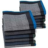 HOULIFE - Fazzoletti da uomo, in puro cotone, motivo a righe, quadretti classici, per uso quotidiano, set di 6/12 pezzi, 43 x