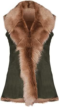 Infnity Leather Gilet da Donna in Vera Pelle di Montone Tinta Unita in Vera Lana da Donna