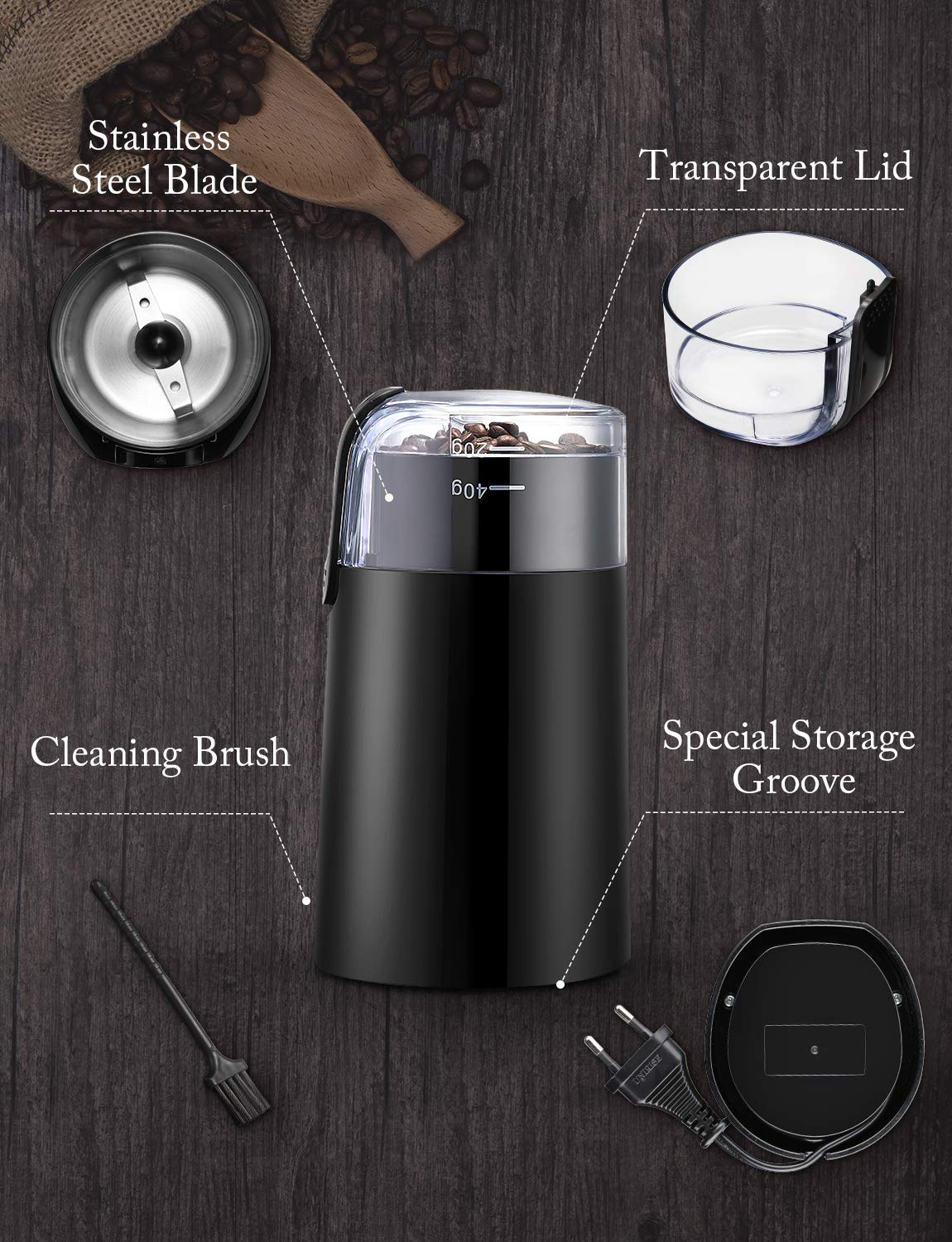 Electric Coffee Grinder, Ikich Coffee Bean Grinder Electric Mill Spice Grinder, Stainless Steel Blade, 60g Capacity, Cord Storage, Portable & Compact for Spices, Pepper, Herbs, Nuts, Seeds, Grains