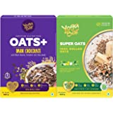 Yogabar Dark Chocolate Flavour and 100% Rolled Super Oats Combo Pack| 400gm Each