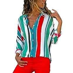 Aleumdr Mujer Blusa Cuello En V Camiseta de Mangas Largas Camisa con Botones Size S XXL