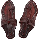 KALAPURI Womens Comfortable Cusioned Kolhapuri Chappal in Genuine Leather with Reddish Brown Pointed Shape Base and Tradition