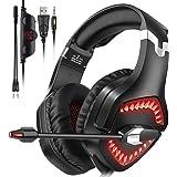 WillNorn - Cuffie da gioco per PS4, Xbox, One PC, cancellazione del rumore, con microfono jack da 3,5 mm, controllo del volume, luce LED per laptop, tablet, Mac, smartphone Rosso