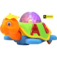 Zest 4 Toyz Happy Turtle Battery Operated Kid's Bump and Go Toy Animal Figure with Cool 3D Flashing Lights, Music