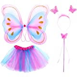 Tinksky 4Pcs Girls Fairy Costumes with Wings Headband Kids Fairy Princess Costume Set Tutu Skirt Butterfly Wing Wand…