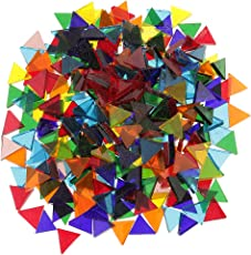 Segolike 250 Pieces Triangle Shape Mixed Color Clear Glass Mosaic Tiles Tessera for Mosaic Making Crafts Supplies 14mm