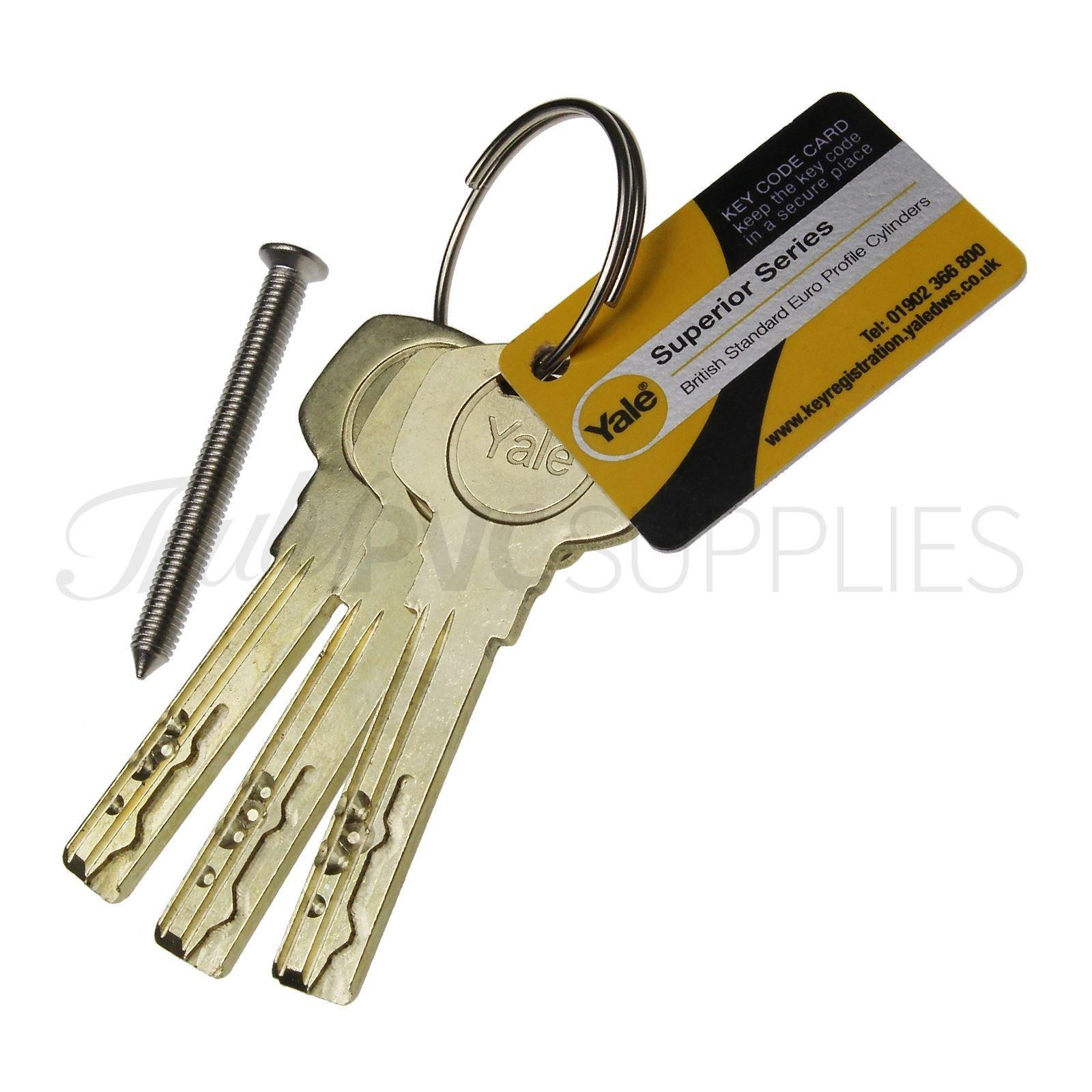 45//45 5 total 2 Extra Keys 90mm Nickel YALE Platinum 3 Star Euro Cylinder Anti Snap Bump High Security uPVC Door Barrel TS2007:2013 Lock