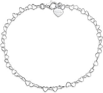 Amberta - Bracciale in argento Sterling 925 con catena a forma di cuore, 3 mm, misura 19,1 cm, 20,3 cm