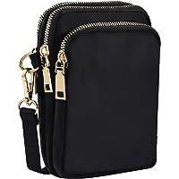 INSOUR Nylon Handy Crossbody Tasche Multifunktionale 3 Schichten Lagerung Reißverschluss Mini Schultertasche Hüfttasche…