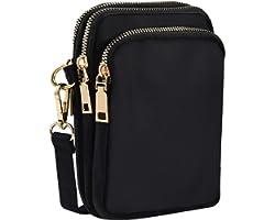 INSOUR Nylon Handy Crossbody Tasche Multifunktionale 3 Schichten Lagerung Reißverschluss Mini Schultertasche Hüfttasche - 2 F