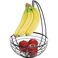 iDesign AUSTIN Corbeille de Fruits avec Support pour bananes, Panier de Fruits Rond en Métal, Noir Mat