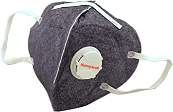 Honeywell PM 2.5 Anti Pollution Foldable Face Mask (Box of 5) with Easy Exhalation Valve, Dark Blue Printed