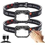 Lampe Frontale,2 Pièces Super Lumineux Capteur De Mouvement Lampe Frontale LED,1500 Lumens 11 Modes Torches Frontales,Recharg