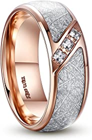 King Will Meteor 8mm Titanium Wedding Band Ring Rose Gold Plated Meteorite Domed Polished