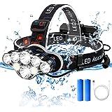 ANGGO Lampe Frontale, Lampe Frontale Rechargeable USB,Torches Frontale Puissante 8 LED,Réglable 8 Modes d'éclairage, Étanche