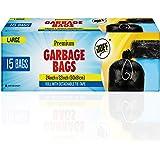 JOFF Premium Garbage Bags (Large) Size 60cm x 81cm (24inch x 32inch) 1 Roll (15 Bags)- Heavy Duty Trash/Dustbin Bags