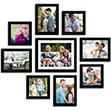 Painting Mantra Art Street - Set of 9 Individual Black Wall Photo Frames Wall Hanging (Mix Size) (4 5X5, 4 Units 5X7, 1 8X10 inch)