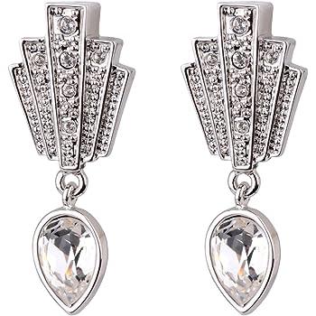 861b4916b Cristalina Gatsby Art Deco Fan Drop Swarovski Crystal Earrings 3.5cm Long