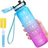 Favofit 1 Liter Trinkflasche mit Motivationszeitmarkierung, BPA-frei Tritan Wasserflasche mit Fruchtfilter und Reinigungsbürs