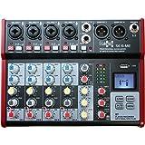 E-Lektron SE-6 Live mengpaneel 4-kanaals mixer + stereo USB/Bluetooth/geluidskaart, incl. Phantom