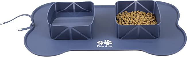 Pet Feeding Mat Travel Bowls for Dogs Cats, Portable Non Slip Roll Up Pet Food Mats FDA Grade Silicone by Pixie & Lu