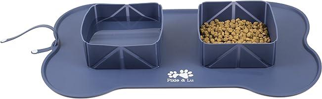 Pixie & Lu Napfunterlage aus Silikon für Hunde und Katzen, rutschfeste Wasserdicht Matte Mit Silikonunterlage...