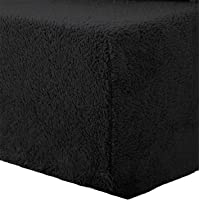 AmigoZone Teddy Fleece Plain Deep Fitted Sheet Thermal Warm Fleece Fitted Sheets (Black, 4FT Small Double)