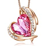 Necklace for Women Heart Crystal Pendant Jewelry Birthday, Mother's Day, Anniversary, Valentine with Jewelry Box for Wife/Mot