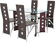 AFT 4 Seater Glass Dining Table with Chairs, Mahogany - AFTD4G