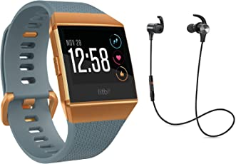 Fitbit Ionic Health & Fitness Smartwatch, GPS, Blau Orange, inkl. Bluetooth Headset