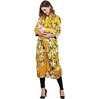 Bhuvika Women's Cotton Flex Maternity A-Line Kurta/Dress/Breastfeeding/Nursing/Easy Feeding Kurti with Zip for Pre and…