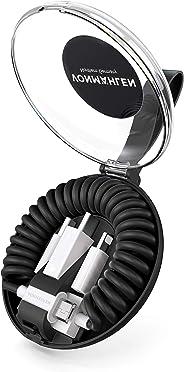 VONMÄHLEN allroundo All-in-One Ladekabel mit 5 Anschlüssen & Spiralkabel in Schwarz - Micro-USB, USB-C - 6in1 Universal Kabel für Handy & mobile Endgeräte - Kompatibel mit iPhone, Samsung, Huawei etc.