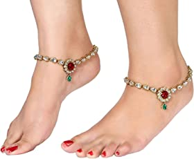 I Jewels Traditional Gold Plated Anklets for Girls & Women (A019MG)