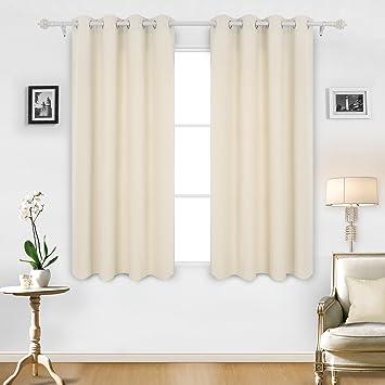 Deconovo Streifen Ösenvorhang Gardien Vorhänge Kinderzimmer 175x140 Cm  Creme 2er Set: Amazon.de: Küche U0026 Haushalt