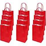 flintronic Paper Bags, 12 Pcs Red Gift and Sweet Bags with Handles, Kraft Bags for Kids Party, Celebrations, Baby Shower, Bir