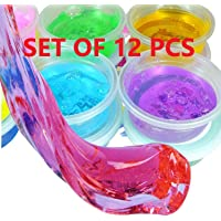 Jiada Crystal Clay Soft Slime Transparent Magic Mud Non Toxic | Pack of 12 Assorted Colours