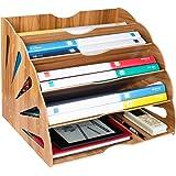 Tonsmile Wooden Filing Trays, Large Wood Office Desk Stationery Expanding File Organiser Rack Tray Holder Divider for A4 Pape