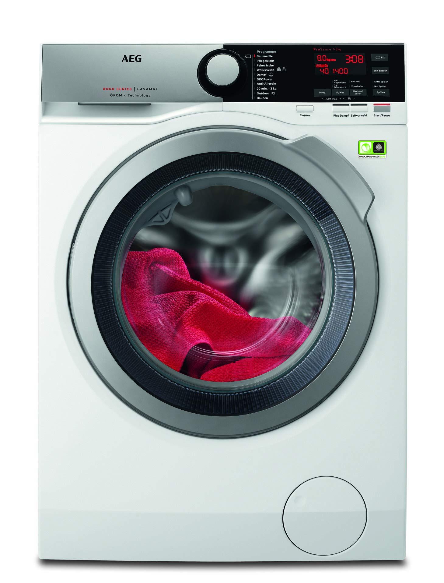 AEG L8FE74485 Waschmaschine mit ProSteam, ÖKOMix, 8,0 kg, Nachlegefunktion