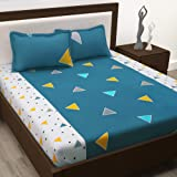 Story@Home 100% Cotton Metro Collection Triangles Geometric Pattern 1 Double Bedsheet with 2 Pillow Cover - Blue