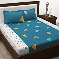 Story@Home 100% Cotton Metro Collection Triangles Pattern 1 King Bedsheet with 2 Pillow Cover - Blue कपास डबल बेडशीट
