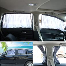 Andux Zone Auto Seite Fenster Vorhang Baumwolle Sonne Schatten 1 Paar PBCL-01 (Grau, 50L)