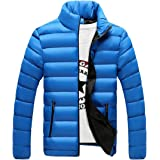 CHENMA Men Stand Collar Contrast Color Quilted Padded Puffer Jacket Winter Coat