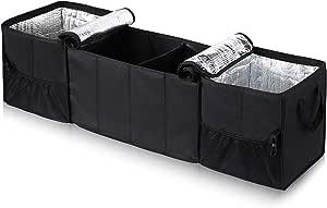 Yoofan Auto Organizer Kofferraum Organizer Gepäckraum Organisator Faltbarer Wasserdichter Kofferraum Organizer Mit 2 Isolierten Fächern Für Pkw Lkw Suv Und Mehr Auto