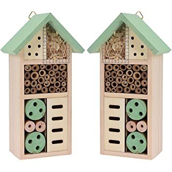 US Insect Wooden Hotel Nest Home Bee Keeping Bug Ladybird Garden Pollination Box